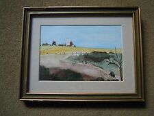 1992 Watercolour.Pair of Windmills in open landscape.Inscribed on Reverse.