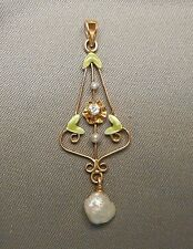 Dainty Antique Edwardian Lavalier - 10K Yellow Gold Green Enamel Diamond Pearl