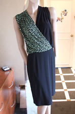 Joseph Ribkoff BNWT 10 Beautiful Black Stretch Jersey Dress with Green Polka Dot