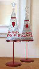 Metal Christmas Tree Chic Shabby Retro Hearts Flowers & Star Decoration - Pair