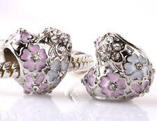 925 Silver Heart Charm Beads Pendant Fit sterling Bracelet Necklace Chain A219