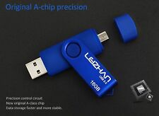 Blue 8GB USB 2.0 and micro usb Flash Pen Drive Memory Stick Rotary Thumb Key
