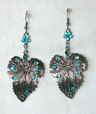 "Blue Crystal Floral Leaves Drop Dangle 3"" Antiqued Silver Earrings NEW!"