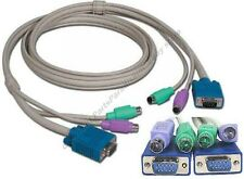 3ft HQ 3xShield KVM switch box Cable Kit/Set,SVGA/VGA Male~M,PS/2-MM Cord/Wire