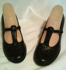 AREOSOLES BLACK   LEATHER MED HEEL SHOES SIZE 8
