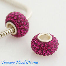 PURPLE RED FUCHSIA CRYSTAL .925 Solid Sterling Silver EUROPEAN EURO Bead Charm