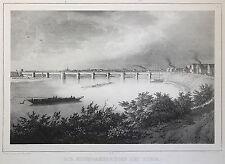 Lithografie Die Eisenbahnbrücke bei Riesa um 1840 Arldt Weider Sachsen xz