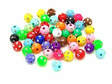50 Pcs - 8mm Mix Acrylic Round Metal Enlaced Spacer Beads Kids Craft H53
