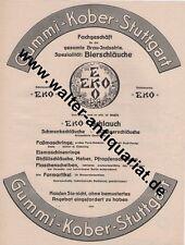 Gummi Kober Stuttgart Bier-Schläuche Große Werbeanzeige anno 1926 Reklame