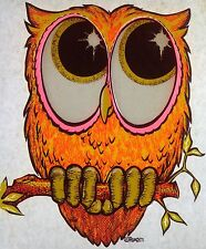 Vintage 1971 Day-Glo RoAcH Big Eyed Owl Iron-On Transfer RARE!