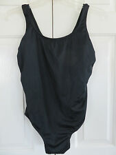Catalina One Piece Black Tank Style Swimsuit Ribbed pattern SZ XL(16-18) NWT