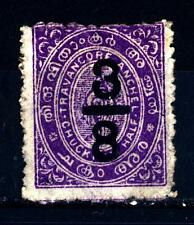 TRAVANCORE - 1906 - Francobolli del 1889-1900 con soprastampa del nuovo valore