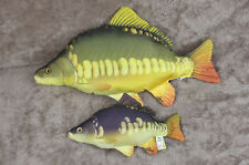 Fish large and small CARP pillow stuffed novelty cushion soft toy 61cm & 36cm
