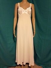 FLORA NIKROOZ LONG NIGHTGOWN S SMALL SOLID IVORY SLEEVELESS SHEER BODICE