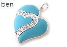 Sterling Silver 925 Natural Blue Turquoise and Cubic Zirconia Heart Pendant