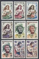 1958 French Polynesia - SC 182-190 Complete - Guitar, Headdress, Shells - MH*