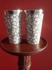 VICTORIAN CHINTZWARE LEMONADE BEAKERS WITH SAMPSON MORDAN SILVER RIMS, H/M 1881