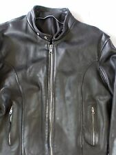 CAFÉ RACER true vintage leather tab collar padded back motorcycle jacket XL