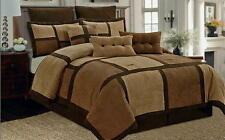 9-PC Comforter Set Brown Micro Suede Patchwork  Queen Size Bed in a Bag New