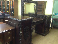 VICTORIAN GOTHIC 19TH CENTURY CARVED OAK MIRRORED BACK SIDEBOARD DRESSER BAR1