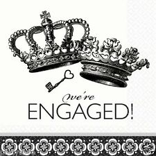 DAMASK AND DOTS ENGAGEMENT CROWN BLACK WHITE PRINT PARTY LUNCH NAPKINS X 36