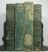 1917~Antique Vintage 4 Green Book Lot~Old Distressed Display Set~CHARLES DICKENS