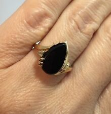 Vintage 10k Yellow Gold 3 Ct Onyx Pear Diamond Pave Cocktail Estate 10kp Ring 8