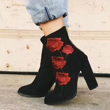 LF Intentionally Blank black  Rosa Embroidered Suede Boot $220 sz 37 (US7)