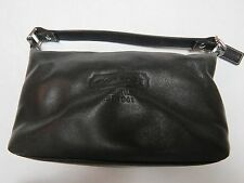 COACH Small Black Leather Cosmetic Make Up Bag