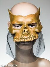Mardi Gras Mask Gold Latex Skeleton Venetian Style Eye Mask With Netted Drape