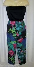 VTG 70's Dotti S Hawaiian Jumpuit CatSuit Floral Tube Strapless Tropical Crop