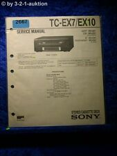 Sony Service Manual TC EX7 / EX10 Cassette Deck (#2667)
