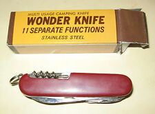 WONDER KNIFE Stainless Steel Multi-Usage Camp Knife-11 Separate Functions-in Box