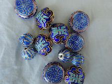PERLES CLOISONNEES couleur assortie  bleu   x 12 pièces  fabrication bijoux