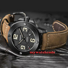 Parnis black dial PVD Sapphire Glass 21 jewels miyato Automatic mens Watch 570