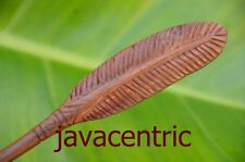Handmade carved FEATHER wooden HAIR STICK PICK or SHAWL SCARF PIN Sono wood new