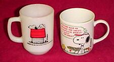 Lot 2 Vintage Fire King Peanuts Snoopy Coffee Mug Cup Tennis Allergic to Morning