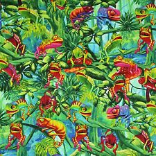 Timeless Treasures Chameleons Green Novelty Quilting Cotton Fabric by the Yard
