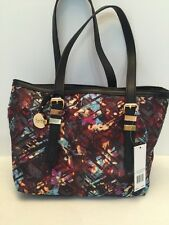Nicole Miller Women's Tote Purse in Petunia Plaid/Black with Umbrella NWT