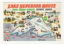 Lake Superior Route Trans Canada Highway Map Postcard 421a