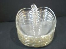 Vintage/Hazel Atlas/ORCHARD Collection/Clear Glass/ Plates/APPLE Shaped/ 7pcs.