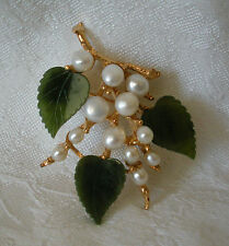 SWOBODA FLOWER SPRAY PIN ~ GEM STONES ~ JADE, FRESH WATER PEARL ~ STUNNING!