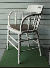 ANTIQUE PAINTED SHABBY CHIC SMOKERS BOW CAPTAINS DESK CHAIR WITH LEATHER SEAT