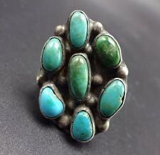 OLD Vintage NAVAJO Sterling Silver & TURQUOISE Cluster RING, size 7 , 10.0g