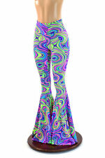 MEDIUM High Waist UV Black Light Reactive Glow Worm Bell Bottoms Ready To Ship!