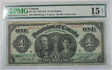 1911 H-L One Dollar Dominion of Canada Note Dc18c Pmg 15 Choice Fine Splits
