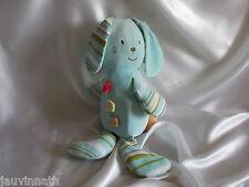 Doudou chien, (lapin) bleu ciel, rayé, Sucre d'Orge