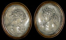 Unique Vintage Wall Plaque Relief Cameo Style Victorian Women Set of 2