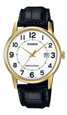 Casio MTP-V002GL-7B Men's Standard Analog Leather Band Gold Tone Day Date Watch