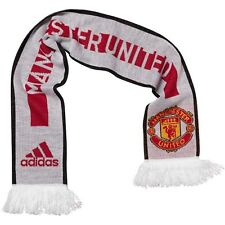 RRP £15 Mens adidas MUFC Manchester United Scarf White Red Black Football